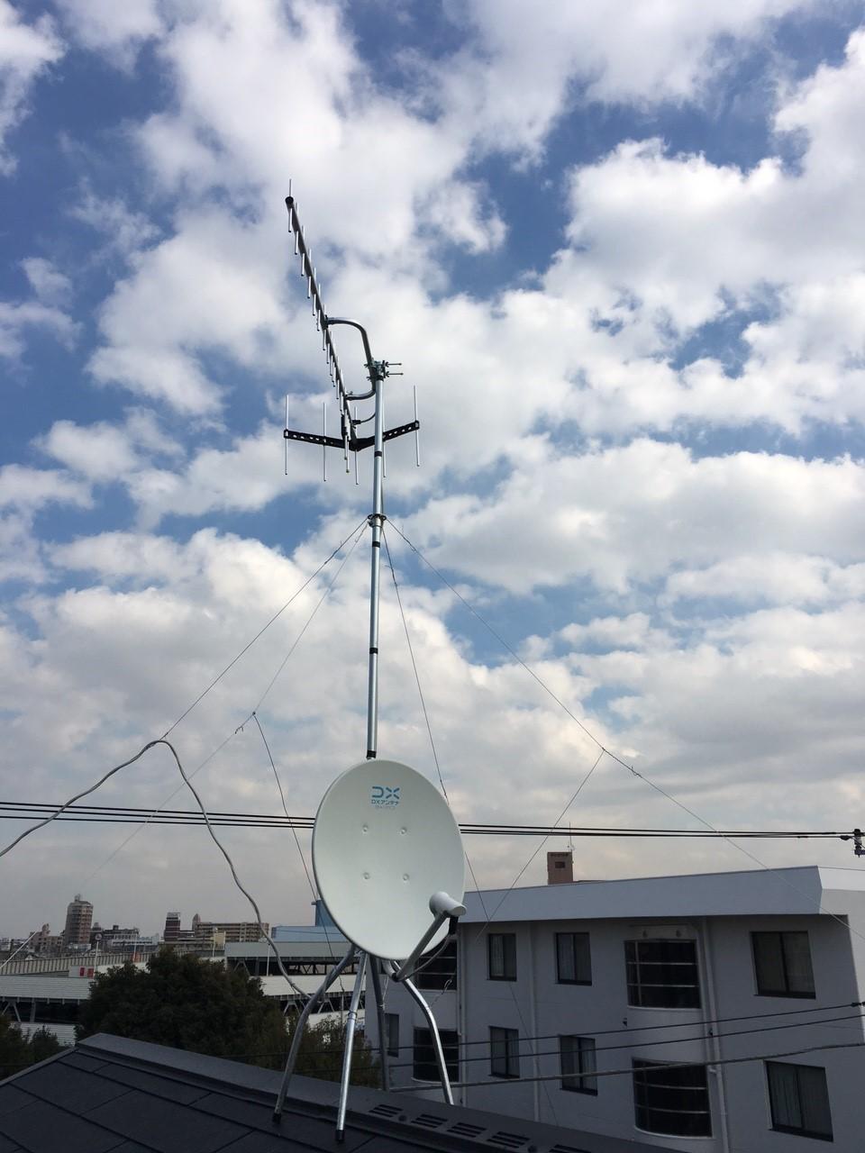 神奈川県平塚市の八木式アンテナ、BS・CSアンテナ工事事例