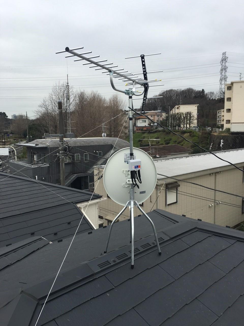 神奈川県横浜市 八木式アンテナ、BS・CSアンテナ工事事例