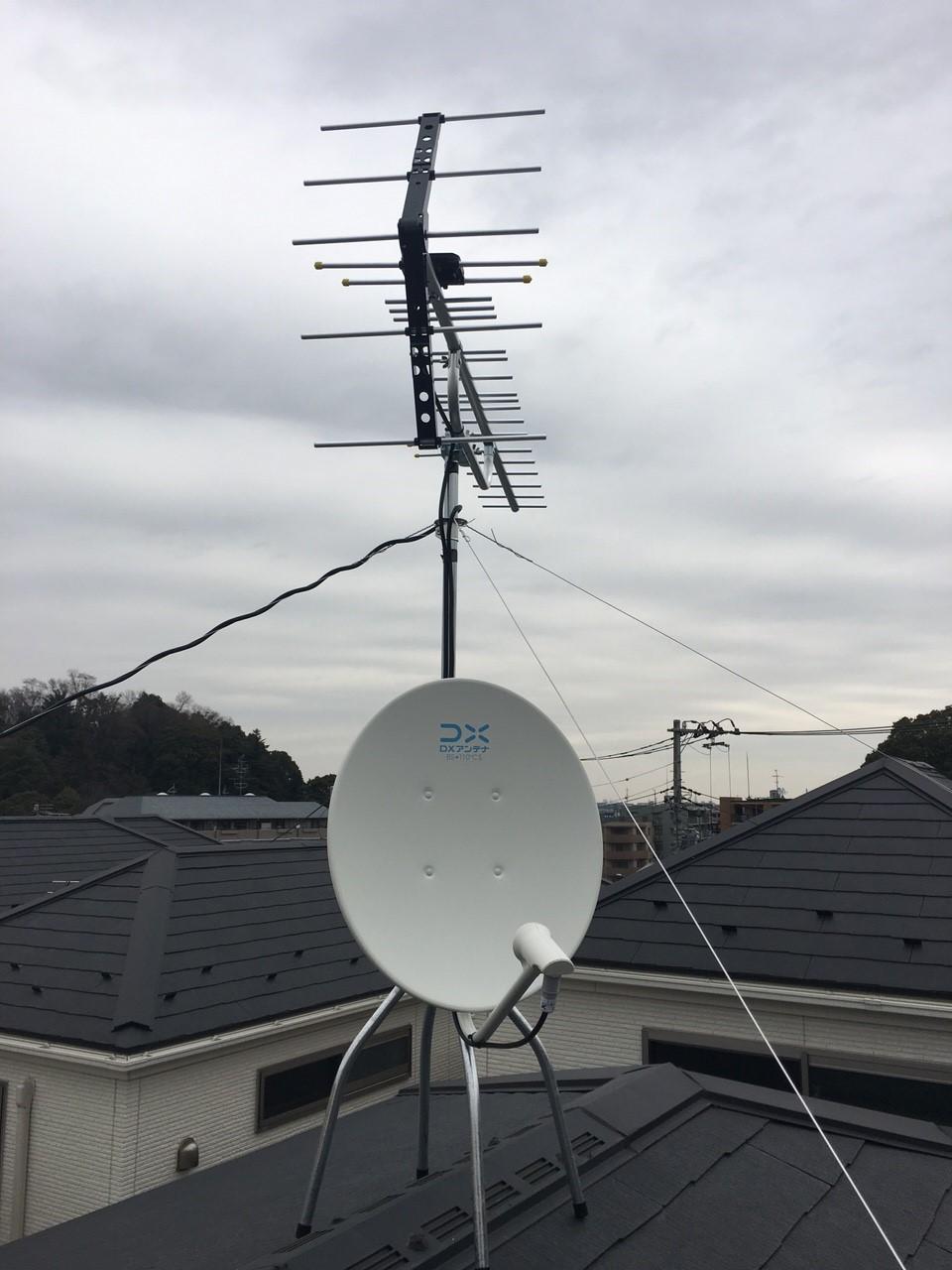 神奈川県横浜市 緑区 八木式アンテナ、BS・CSアンテナ工事事例
